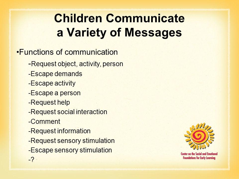 Children Communicate a Variety of Messages Functions of communication - Request object, activity, person -Escape demands -Escape activity -Escape a person -Request help -Request social interaction -Comment -Request information -Request sensory stimulation -Escape sensory stimulation -?