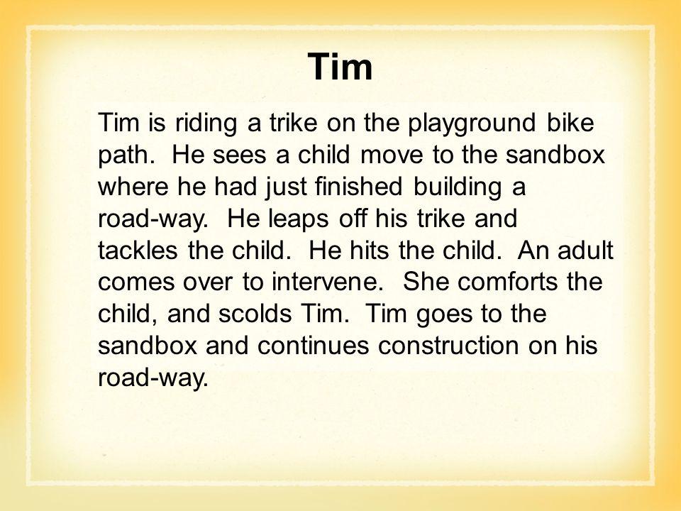 Tim Tim is riding a trike on the playground bike path.