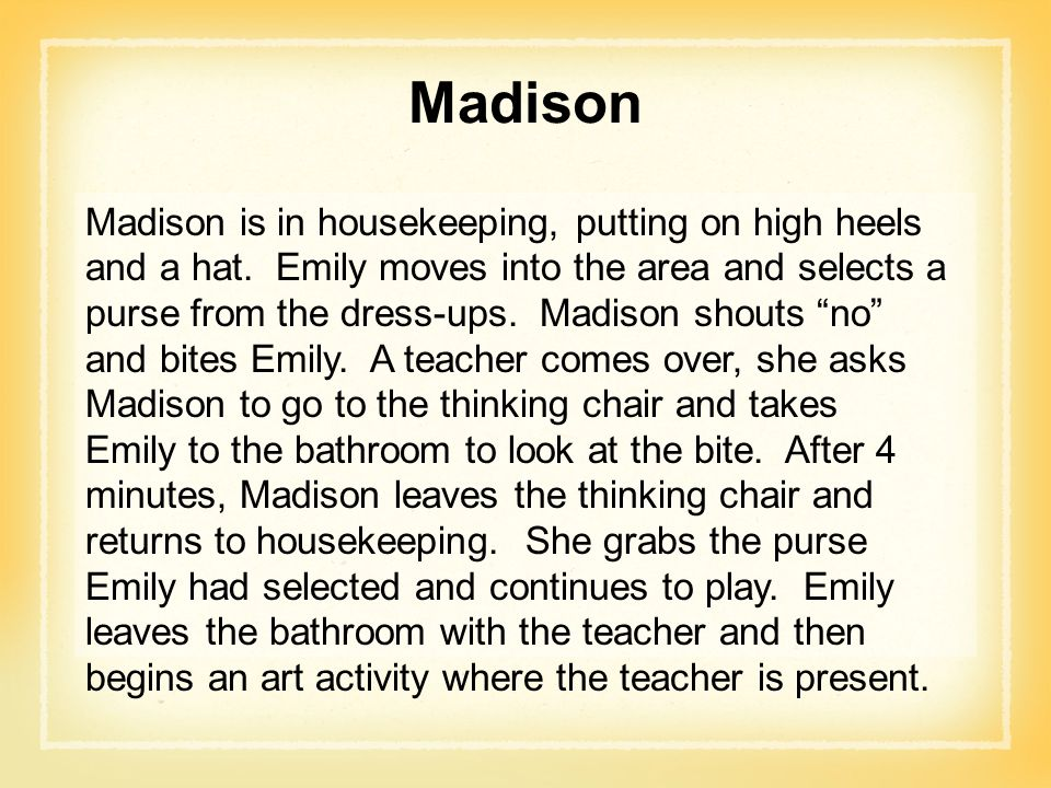 Madison Madison is in housekeeping, putting on high heels and a hat.