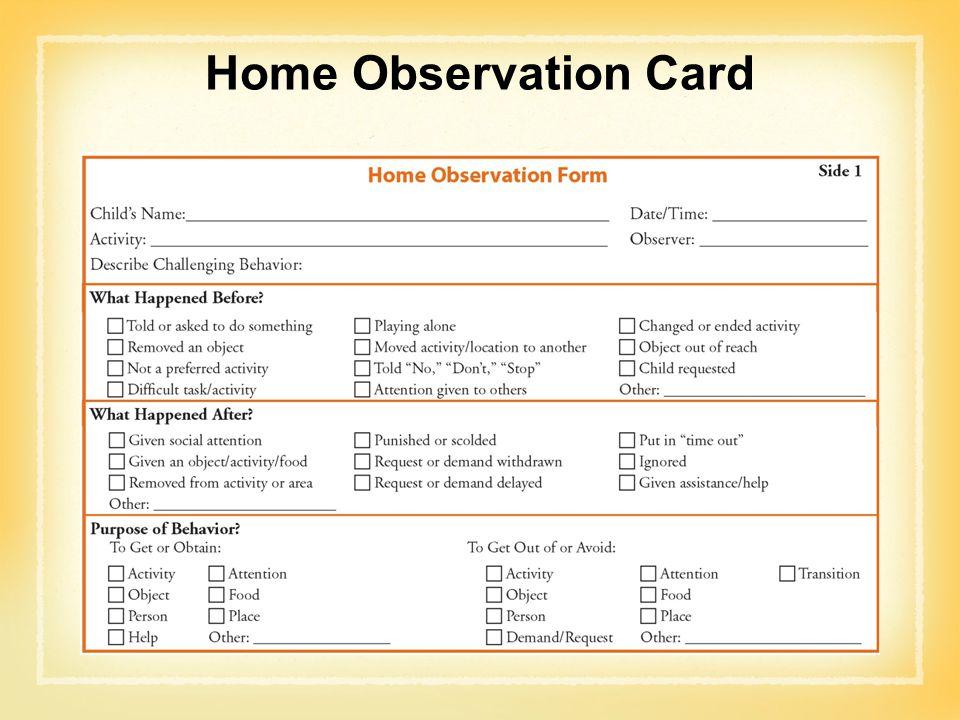 Home Observation Card