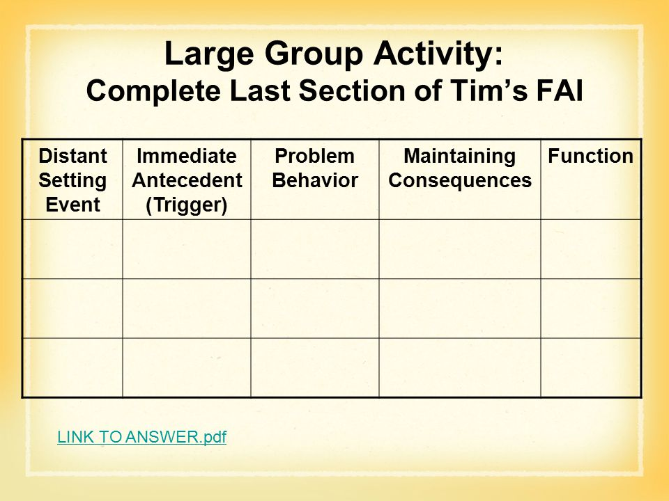 Large Group Activity: Complete Last Section of Tim's FAI Distant Setting Event Immediate Antecedent (Trigger) Problem Behavior Maintaining Consequences Function LINK TO ANSWER.pdf