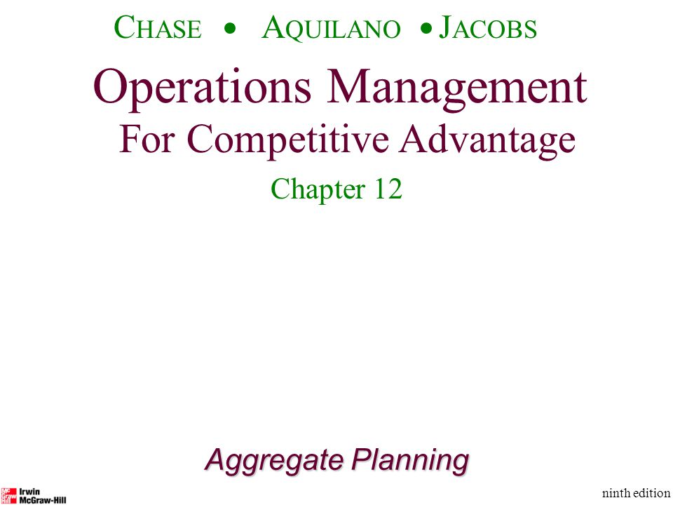 Operations Management For Competitive Advantage © The McGraw-Hill Companies, Inc., 2001 C HASE A QUILANO J ACOBS ninth edition 12 Aggregate Planning Examples: Unit Demand and Cost Data Materials$5/unit Holding costs$1/unit per mo.