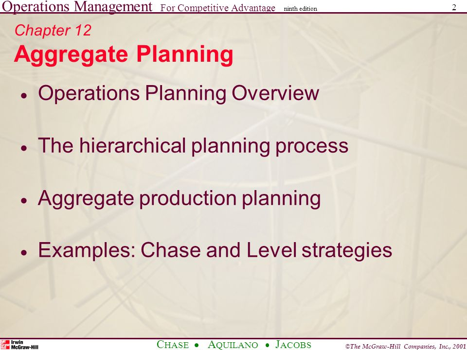 Operations Management For Competitive Advantage © The McGraw-Hill Companies, Inc., 2001 C HASE A QUILANO J ACOBS ninth edition 3 Operations Planning Overview  Long-range planning – Greater than one year planning horizon – Usually with yearly increments  Intermediate-range planning – Six to eighteen months – Usually with monthly or quarterly increments  Short-range planning – One day to less than six months – Usually with weekly increments