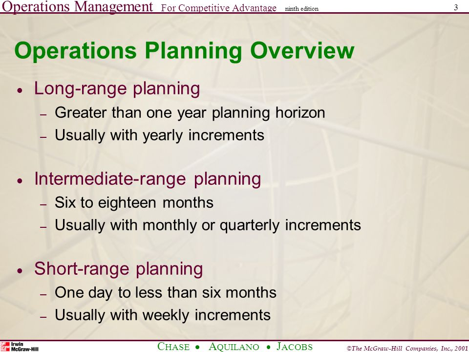 Operations Management For Competitive Advantage © The McGraw-Hill Companies, Inc., 2001 C HASE A QUILANO J ACOBS ninth edition 3 Operations Planning Overview  Long-range planning – Greater than one year planning horizon – Usually with yearly increments  Intermediate-range planning – Six to eighteen months – Usually with monthly or quarterly increments  Short-range planning – One day to less than six months – Usually with weekly increments