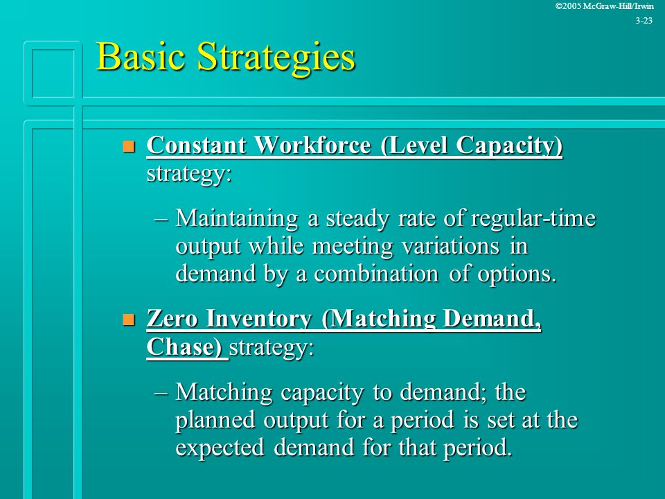 ©2005 McGraw-Hill/Irwin 3-23 Basic Strategies n Constant Workforce (Level Capacity) strategy: –Maintaining a steady rate of regular-time output while