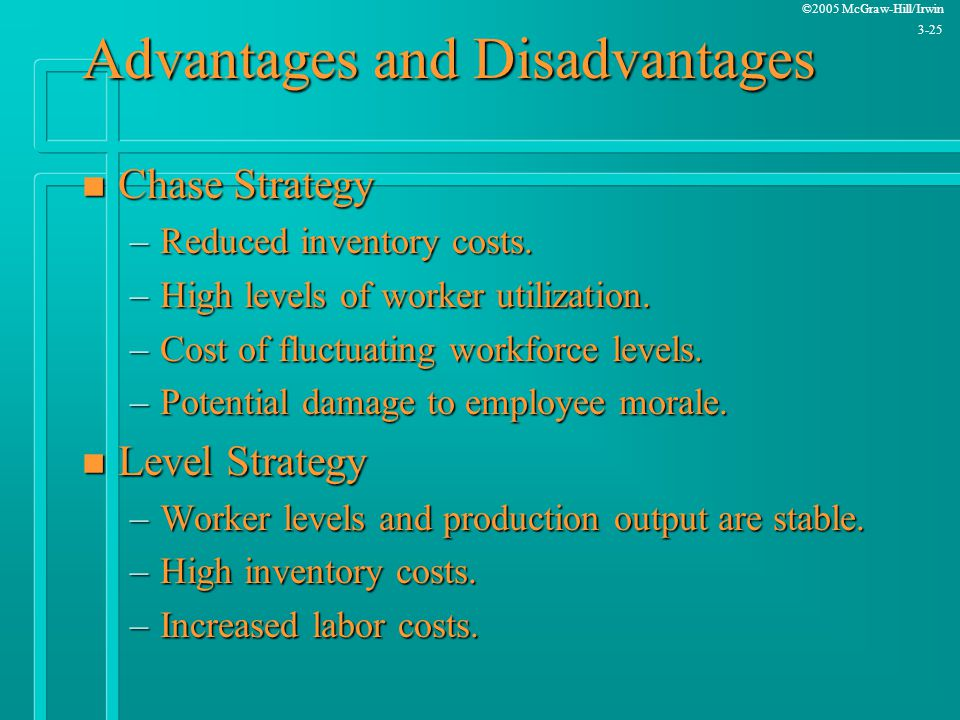 ©2005 McGraw-Hill/Irwin 3-25 Advantages and Disadvantages n Chase Strategy –Reduced inventory costs. –High levels of worker utilization. –Cost of fluc