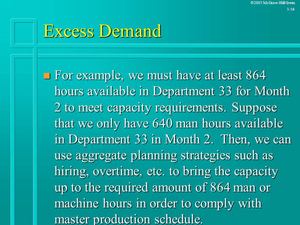 ©2005 McGraw-Hill/Irwin 3-56 Excess Demand n For example, we must have at least 864 hours available in Department 33 for Month 2 to meet capacity requ