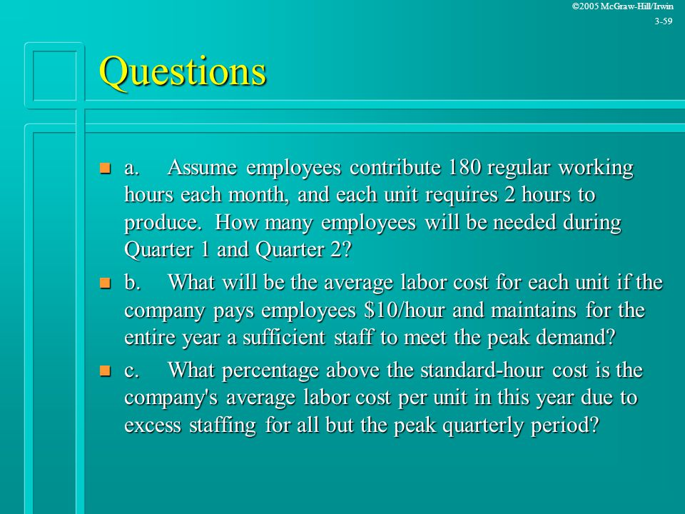 ©2005 McGraw-Hill/Irwin 3-59 Questions n a.Assume employees contribute 180 regular working hours each month, and each unit requires 2 hours to produce