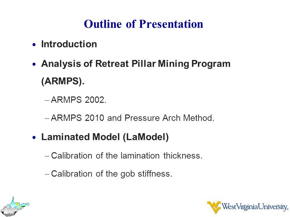 Outline of Presentation  Introduction  Analysis of Retreat Pillar Mining Program (ARMPS).