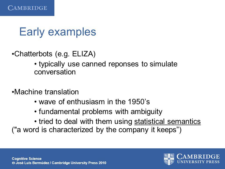 Cognitive Science  José Luis Bermúdez / Cambridge University Press 2010 Early examples Chatterbots (e.g.