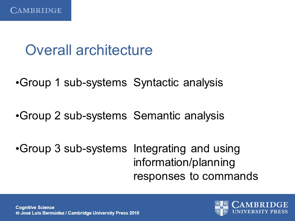 Cognitive Science  José Luis Bermúdez / Cambridge University Press 2010 Overall architecture Group 1 sub-systemsSyntactic analysis Group 2 sub-systemsSemantic analysis Group 3 sub-systemsIntegrating and using information/planning responses to commands