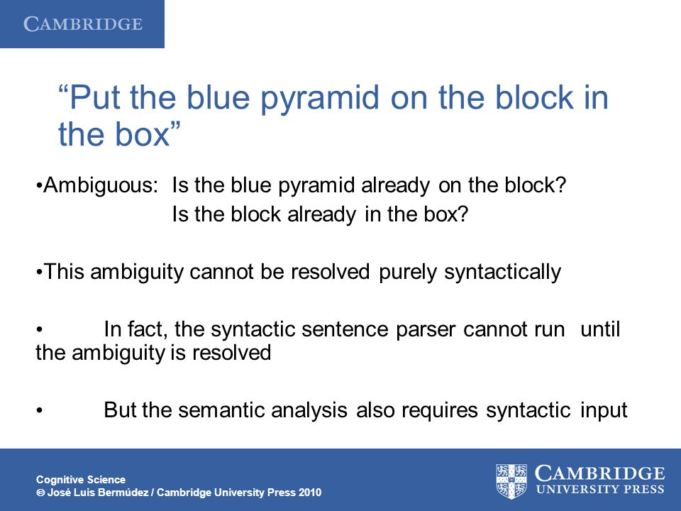 Cognitive Science  José Luis Bermúdez / Cambridge University Press 2010 Put the blue pyramid on the block in the box Ambiguous: Is the blue pyramid already on the block.