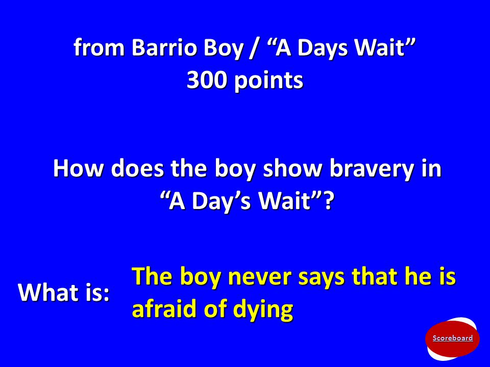 "Scoreboard from Barrio Boy / ""A Days Wait"" 300 points How does the boy show bravery in ""A Day's Wait""? What is: The boy never says that he is afraid o"