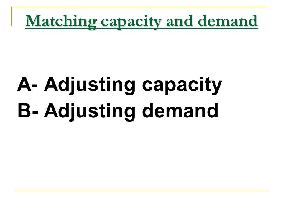 Matching capacity and demand A- Adjusting capacity B- Adjusting demand