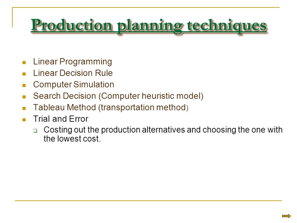 Production planning techniques Linear Programming Linear Decision Rule Computer Simulation Search Decision (Computer heuristic model) Tableau Method (