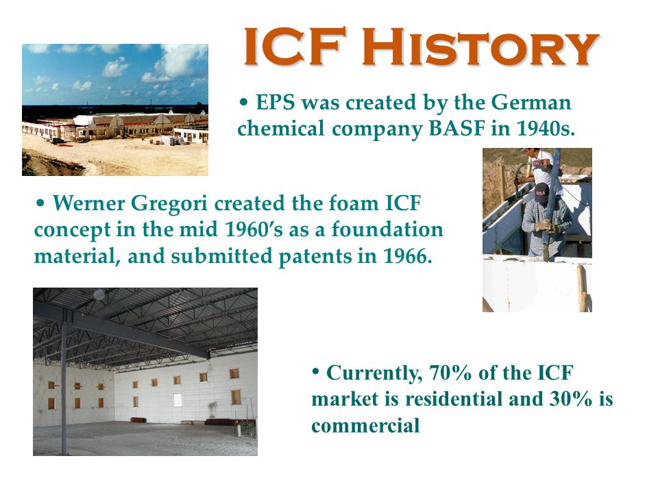 EPS was created by the German chemical company BASF in 1940s. Werner Gregori created the foam ICF concept in the mid 1960's as a foundation material,