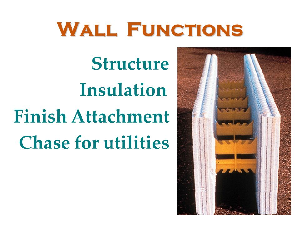 Wall Functions Structure Insulation Finish Attachment Chase for utilities