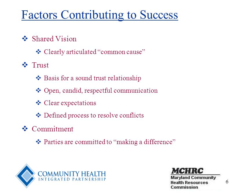 6 Factors Contributing to Success  Shared Vision  Clearly articulated common cause  Trust  Basis for a sound trust relationship  Open, candid, respectful communication  Clear expectations  Defined process to resolve conflicts  Commitment  Parties are committed to making a difference
