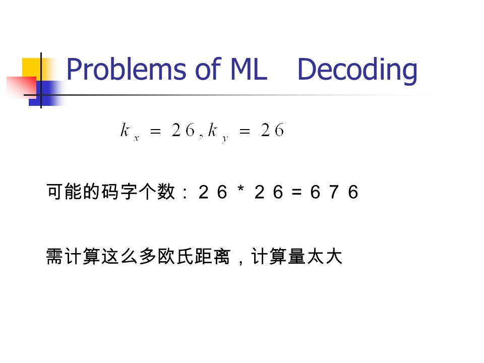 Problems of ML Decoding 可能的码字个数:26*26=676 需计算这么多欧氏距离,计算量太大