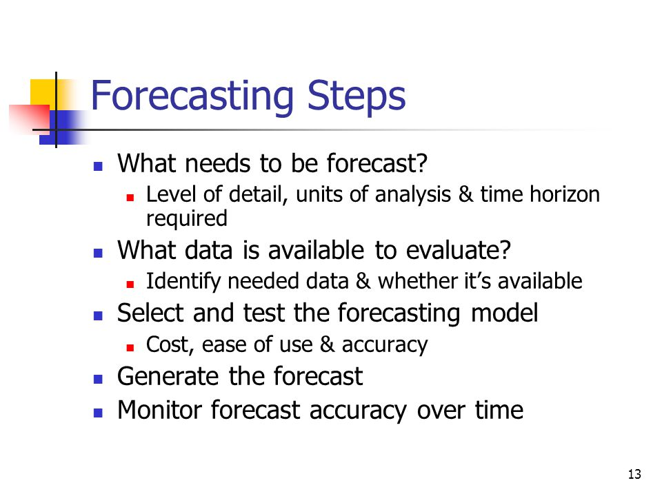 13 Forecasting Steps What needs to be forecast.