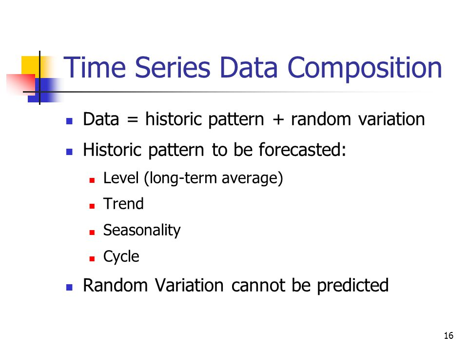 16 Time Series Data Composition Data = historic pattern + random variation Historic pattern to be forecasted: Level (long-term average) Trend Seasonality Cycle Random Variation cannot be predicted