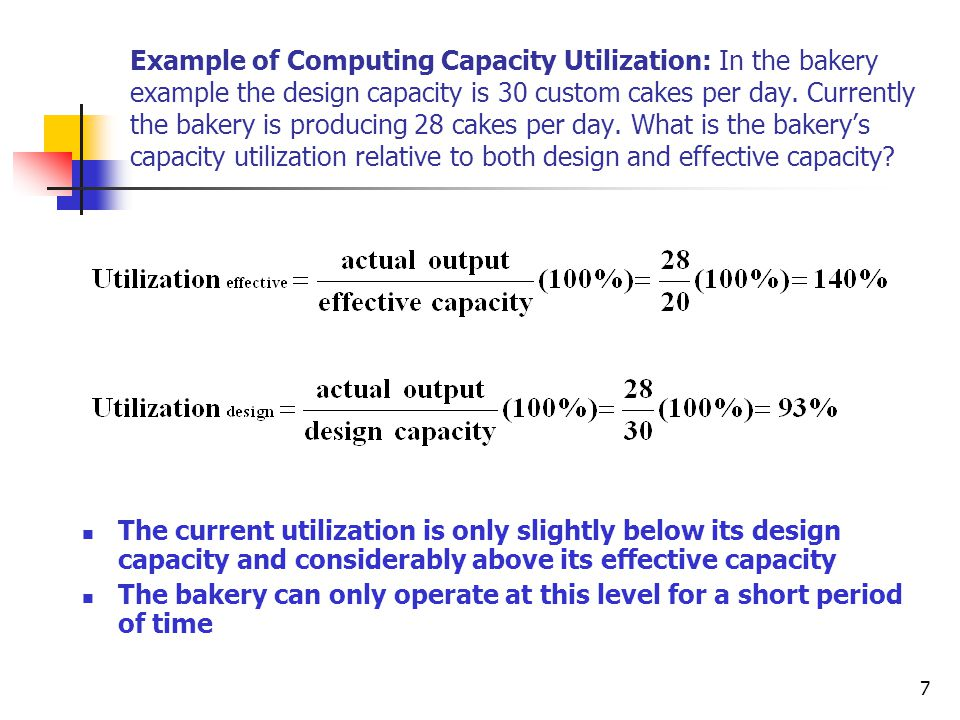 7 Example of Computing Capacity Utilization: In the bakery example the design capacity is 30 custom cakes per day.