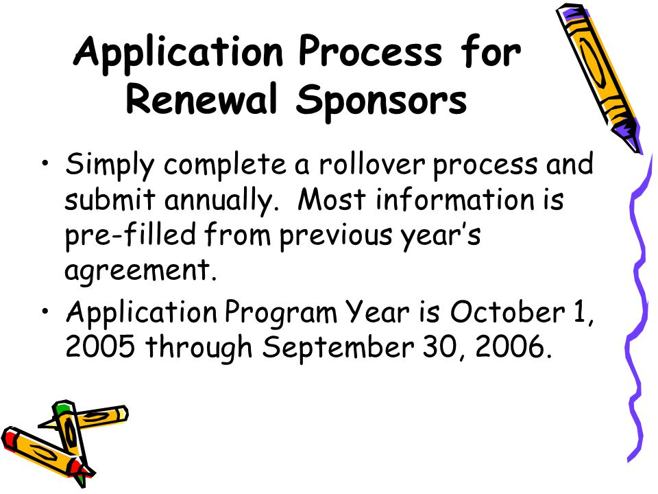 Application Process for Renewal Sponsors Simply complete a rollover process and submit annually.