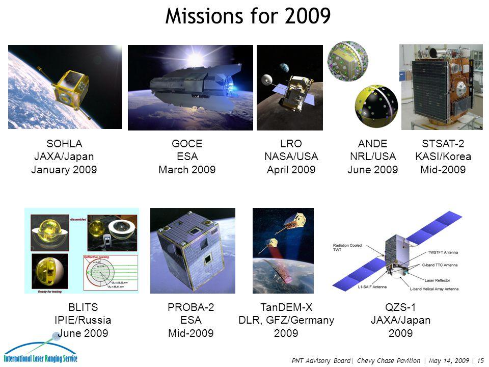 PNT Advisory Board| Chevy Chase Pavilion | May 14, 2009 | 15 SOHLA JAXA/Japan January 2009 GOCE ESA March 2009 LRO NASA/USA April 2009 ANDE NRL/USA June 2009 STSAT-2 KASI/Korea Mid-2009 BLITS IPIE/Russia June 2009 PROBA-2 ESA Mid-2009 TanDEM-X DLR, GFZ/Germany 2009 QZS-1 JAXA/Japan 2009 Missions for 2009