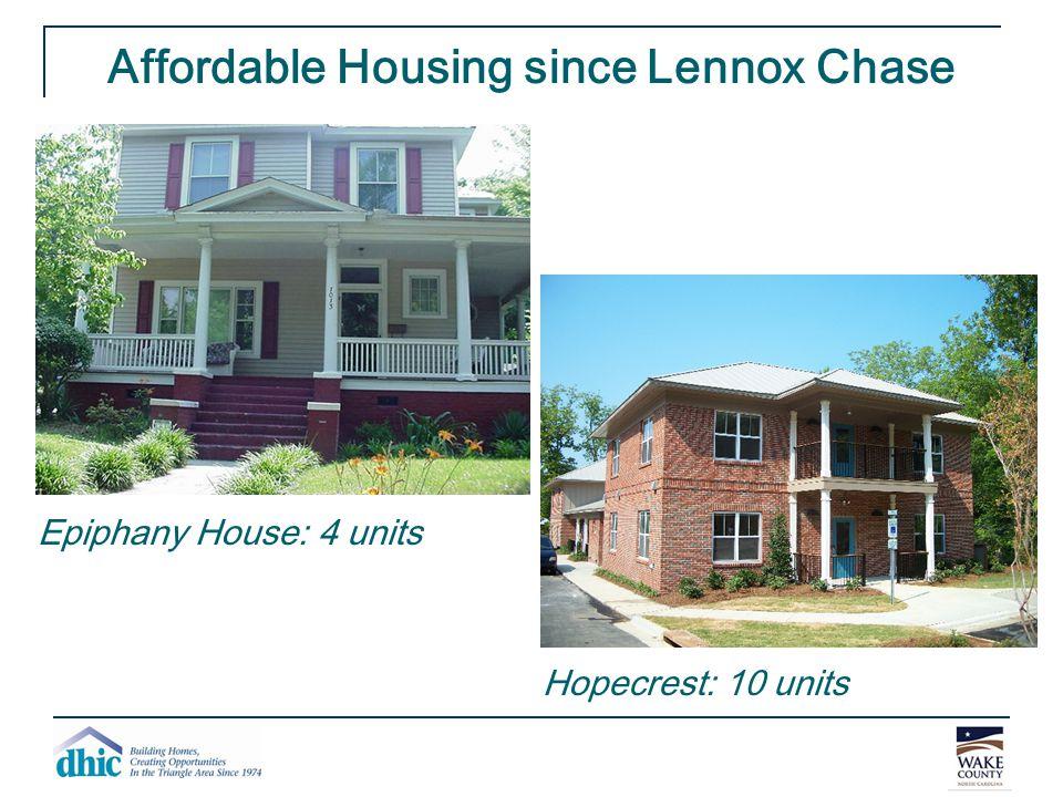 Affordable Housing since Lennox Chase Epiphany House: 4 units Hopecrest: 10 units
