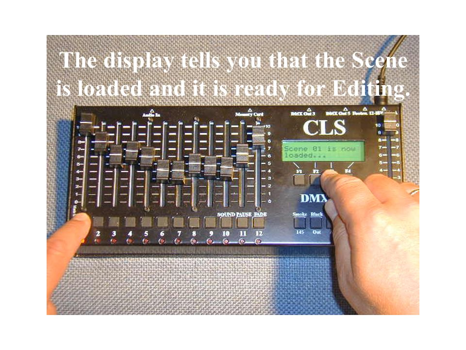 The display tells you to Choose SCENE with a flash knob.