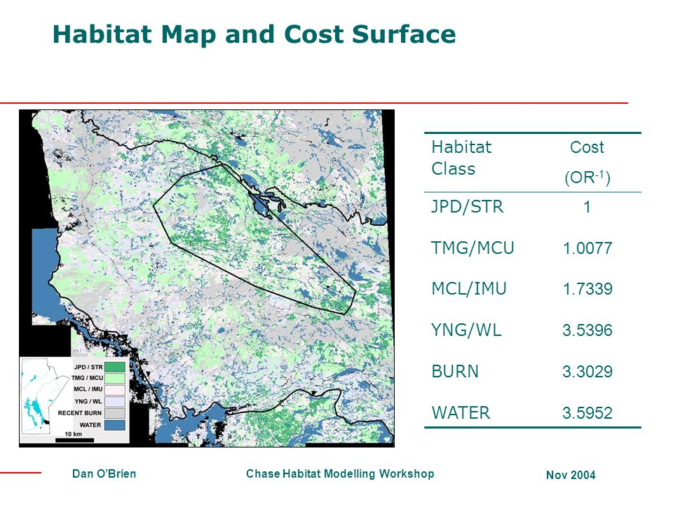 Chase Habitat Modelling Workshop Nov 2004 Dan O'Brien Habitat Map and Cost Surface Habitat Class Cost (OR -1 ) JPD/STR 1 TMG/MCU 1.0077 MCL/IMU 1.7339 YNG/WL 3.5396 BURN 3.3029 WATER 3.5952