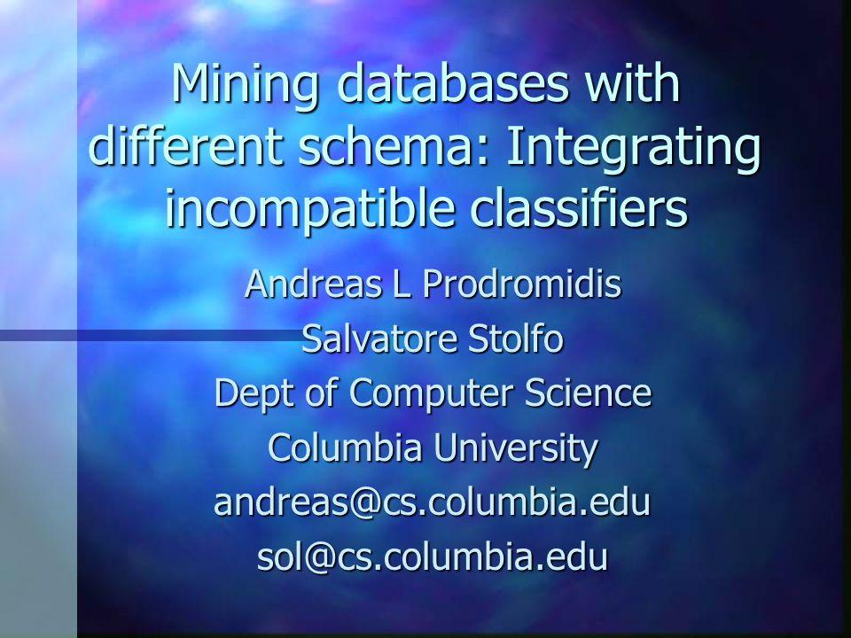 Mining databases with different schema: Integrating incompatible classifiers Andreas L Prodromidis Salvatore Stolfo Dept of Computer Science Columbia University andreas@cs.columbia.edusol@cs.columbia.edu