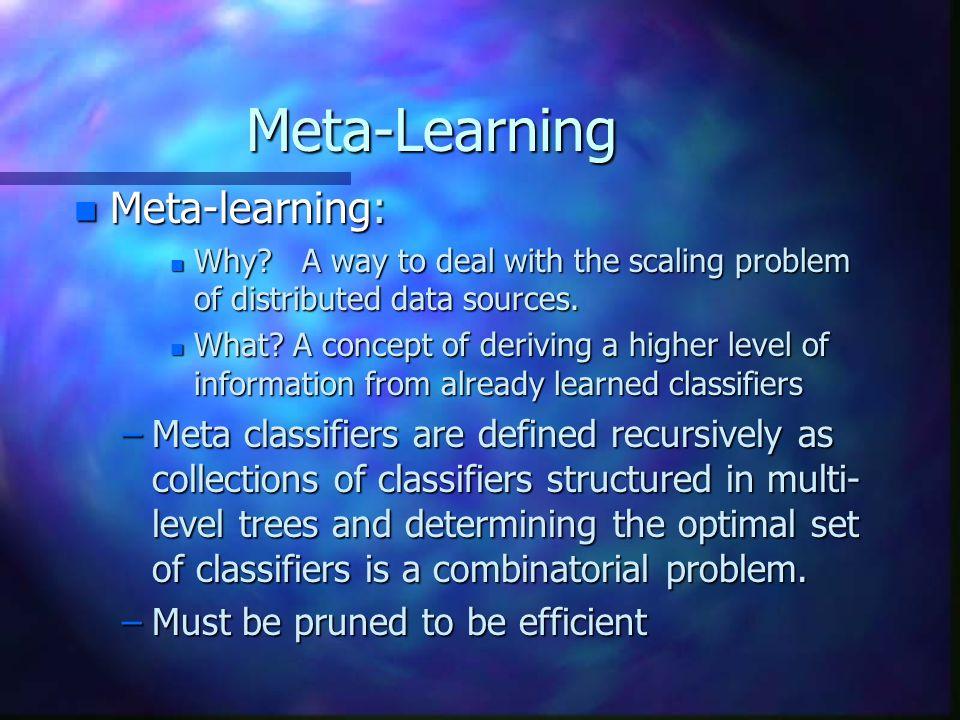 Meta-Learning n Meta-learning: n Why.