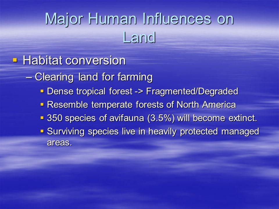 Major Human Influences on Aquatic Ecosystems  Habitat Conversion –Destruction by siltation  Land runoff  Coastal development –Pollution –Large-scale Hydroengineering