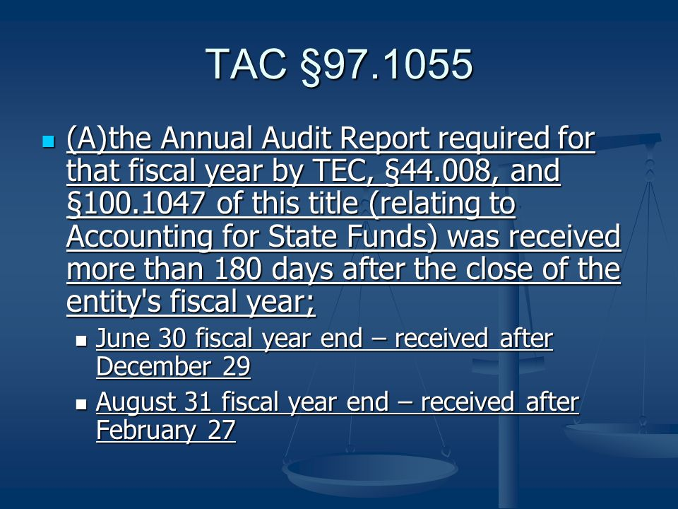 TAC §97.1055 (B)the Annual Audit Report required for that fiscal year by TEC, §44.008, and §100.1047 of this title disclosed net assets of less than 80% of net liabilities; or (B)the Annual Audit Report required for that fiscal year by TEC, §44.008, and §100.1047 of this title disclosed net assets of less than 80% of net liabilities; or Statement of Financial Position Statement of Financial Position Example 1: Example 1: Net Assets - $1,582,742 Net Assets - $1,582,742 Liabilities - $474,672 * 80% = $379,737.60 (Passed) Liabilities - $474,672 * 80% = $379,737.60 (Passed) Example 2: Example 2: Net Assets - $86,988 Net Assets - $86,988 Liabilities - $128,873 * 80% = $103,098.40 (Failed) Liabilities - $128,873 * 80% = $103,098.40 (Failed)