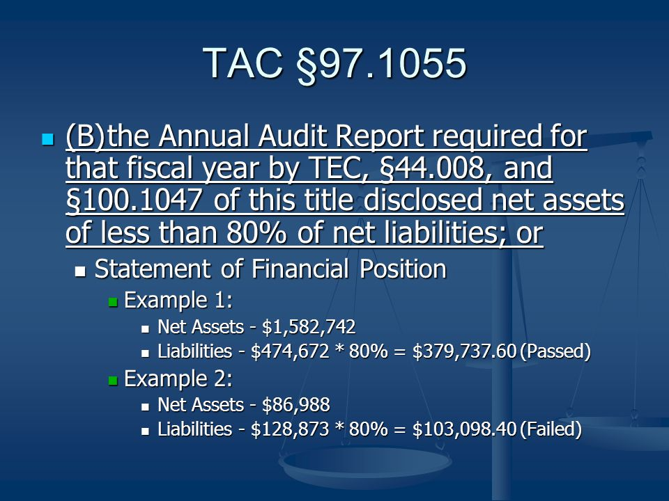 (C)the Annual Audit Report required for that fiscal year by TEC, §44.008, and §100.1047 of this title contained: (C)the Annual Audit Report required for that fiscal year by TEC, §44.008, and §100.1047 of this title contained: (i) an adverse opinion, including a going concern disclosure, or a disclaimer of opinion; and (i) an adverse opinion, including a going concern disclosure, or a disclaimer of opinion; and (ii) the adverse or disclaimed opinion that pertained to: (ii) the adverse or disclaimed opinion that pertained to: (I) financial resources or expenditures that were not properly documented; or (I) financial resources or expenditures that were not properly documented; or (II) a material weakness in internal controls that led to the misallocation of financial resources.