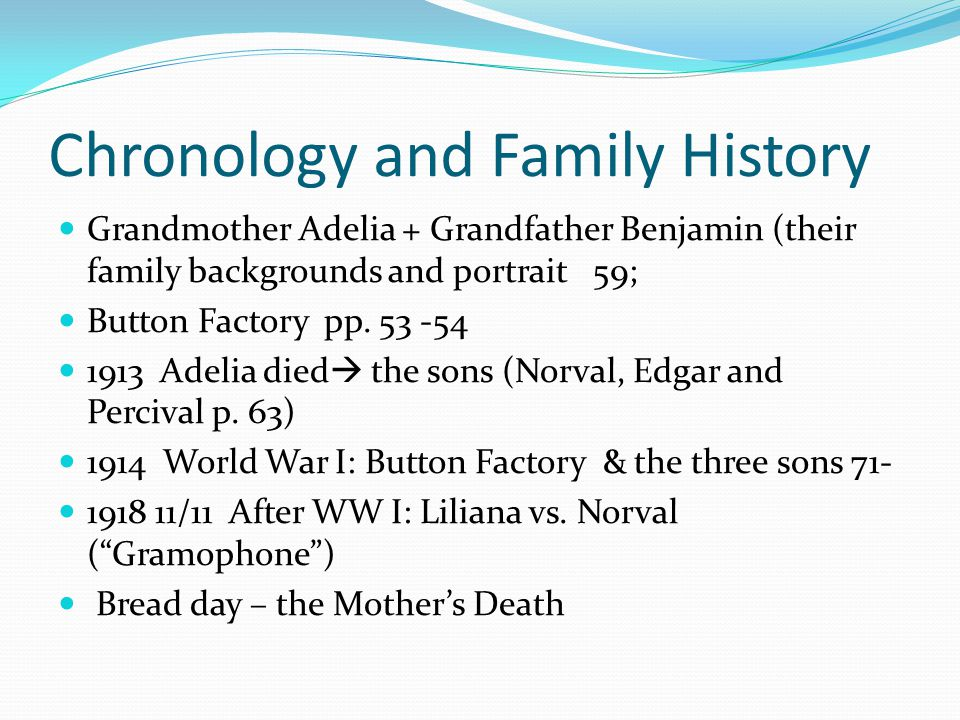 Chronology and Family History Grandmother Adelia + Grandfather Benjamin (their family backgrounds and portrait 59; Button Factory pp.