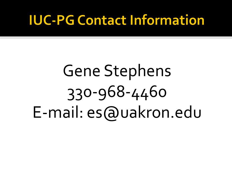Gene Stephens 330-968-4460 E-mail: es@uakron.edu