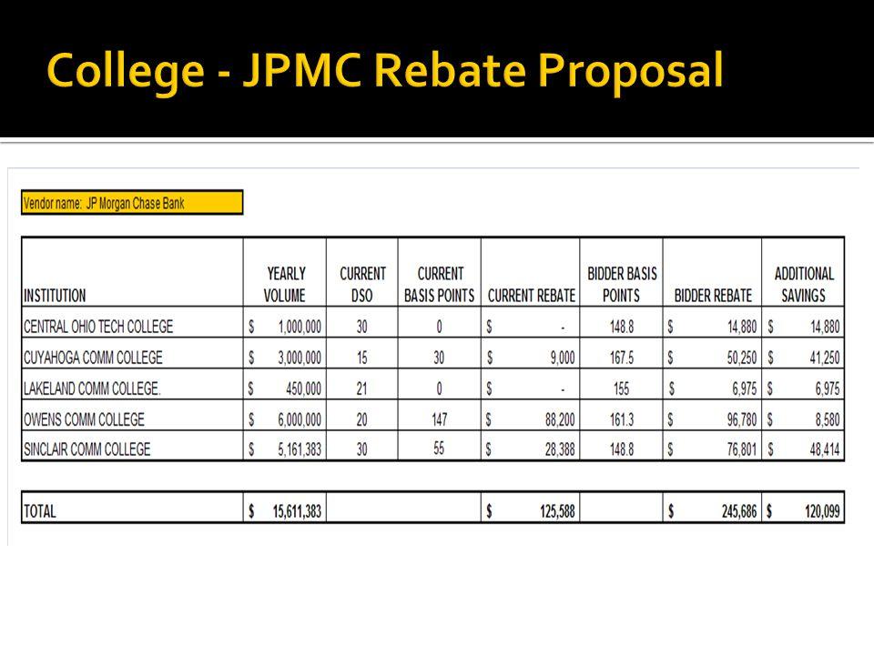 College - JPMC Rebate Proposal
