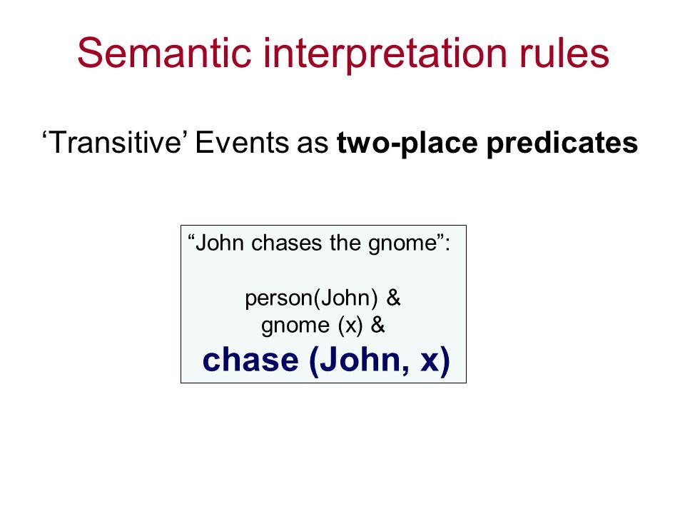Semantic interpretation rules 'Transitive' Events as two-place predicates John chases the gnome : person(John) & gnome (x) & chase (John, x)