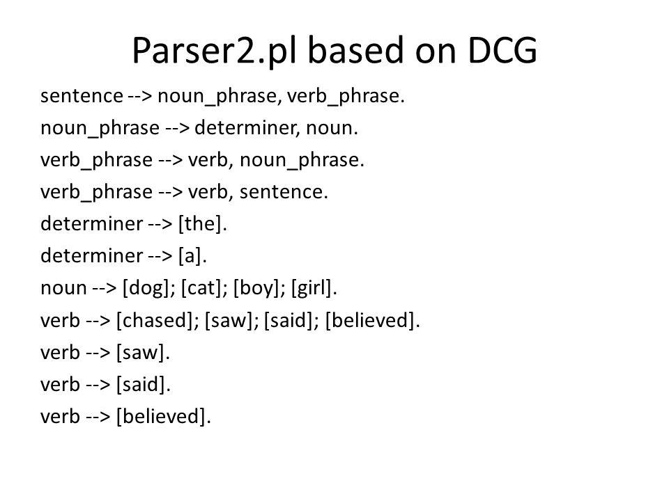 Parser2.pl based on DCG sentence --> noun_phrase, verb_phrase.