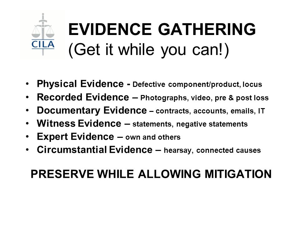 EXPERT EVIDENCE Causation uncertain Complex issues Litigation anticipated What type of expert required.