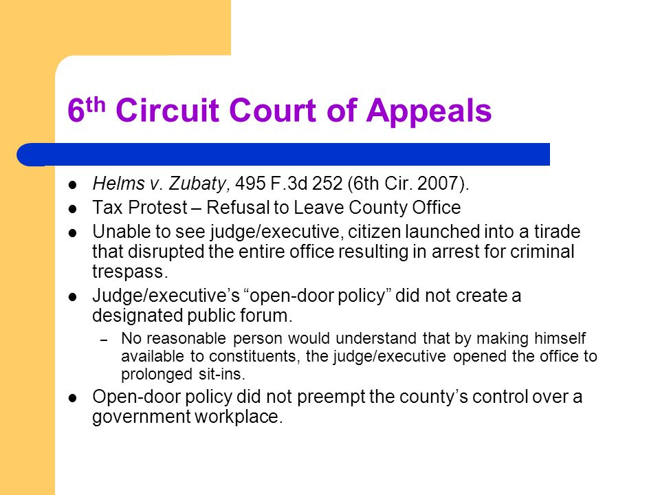 6 th Circuit Court of Appeals Helms v. Zubaty, 495 F.3d 252 (6th Cir. 2007). Tax Protest – Refusal to Leave County Office Unable to see judge/executiv