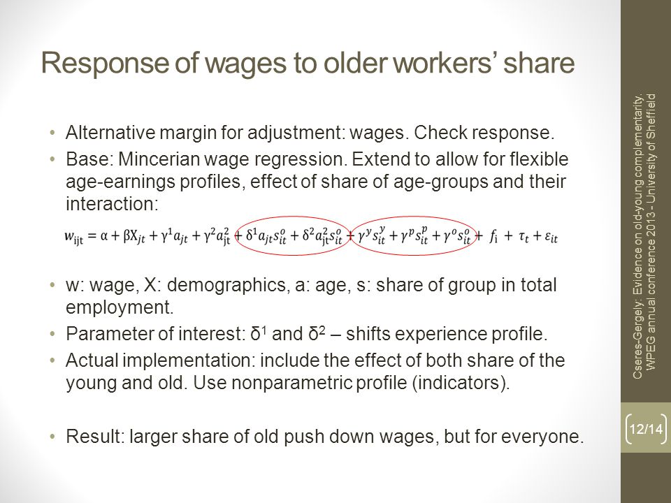Response of wages to older workers' share Alternative margin for adjustment: wages.
