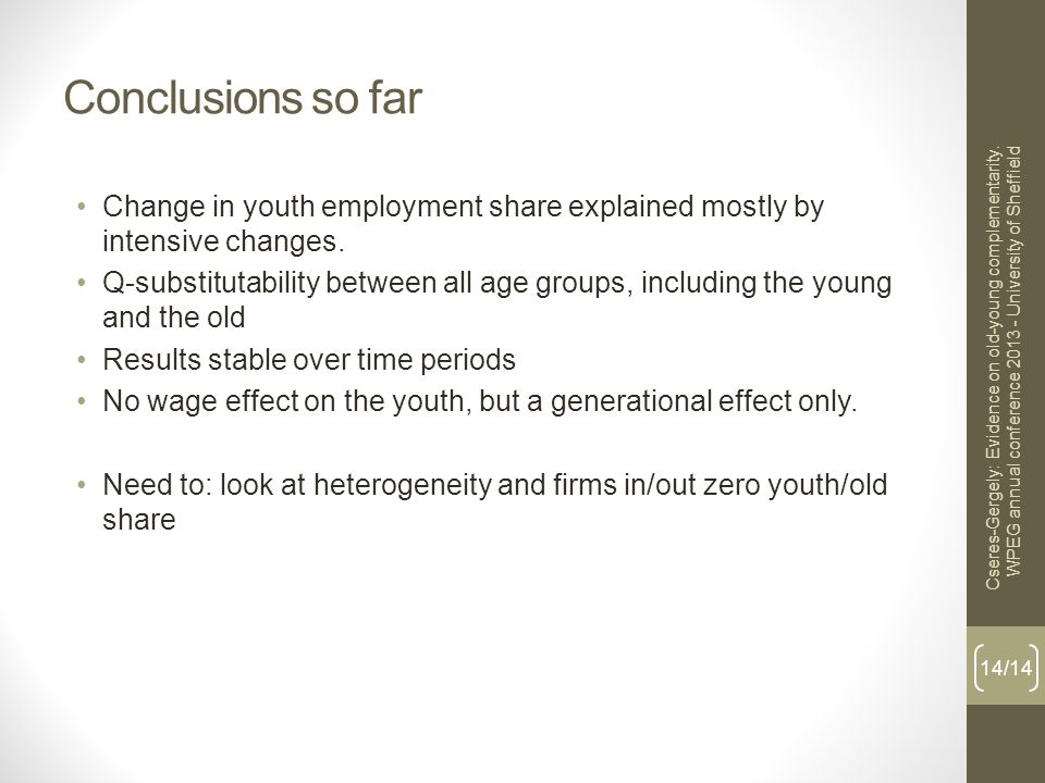 Conclusions so far Change in youth employment share explained mostly by intensive changes.