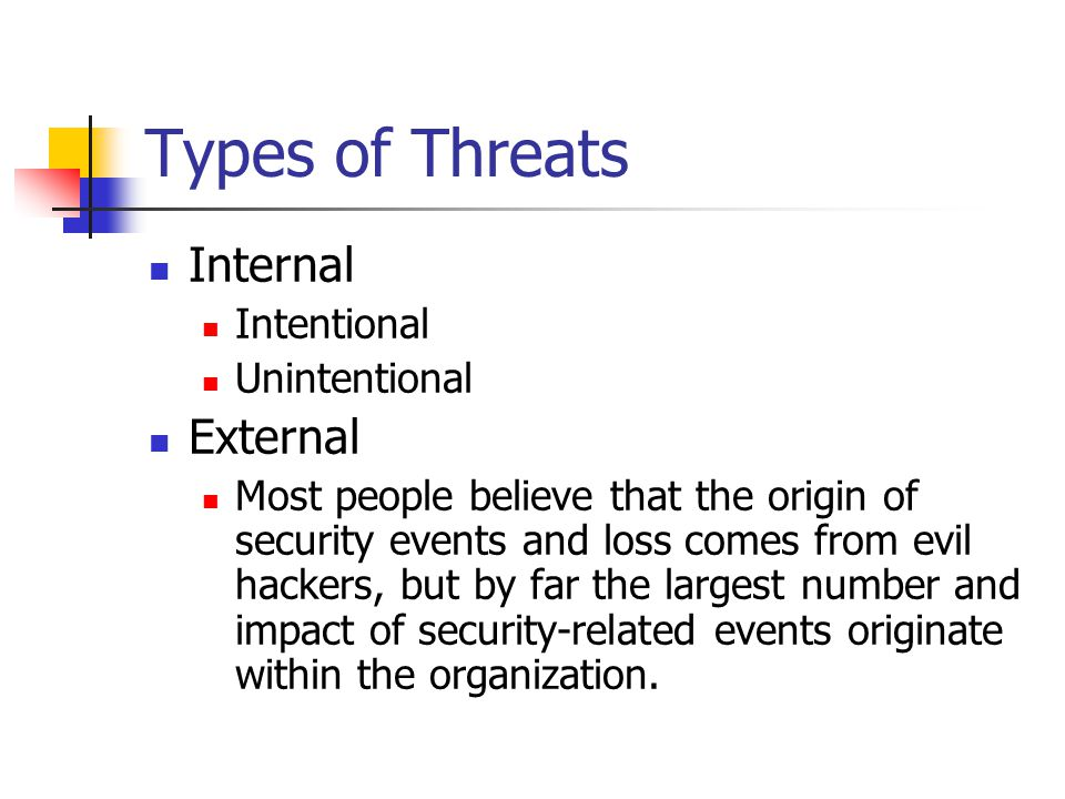 Types of Threats Internal Intentional Unintentional External Most people believe that the origin of security events and loss comes from evil hackers, but by far the largest number and impact of security-related events originate within the organization.