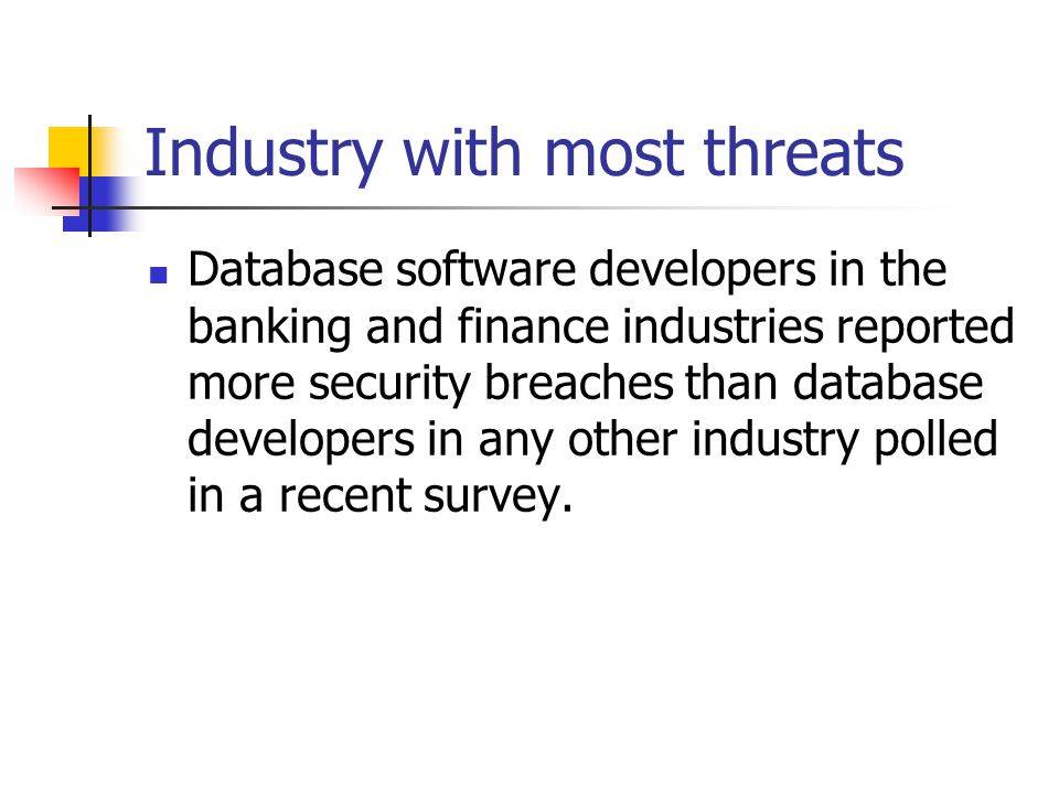 Industry with most threats Database software developers in the banking and finance industries reported more security breaches than database developers in any other industry polled in a recent survey.