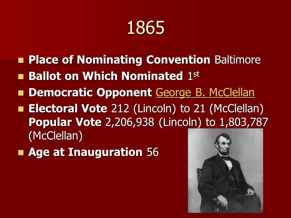 1865 Place of Nominating Convention Baltimore Place of Nominating Convention Baltimore Ballot on Which Nominated 1 st Ballot on Which Nominated 1 st D