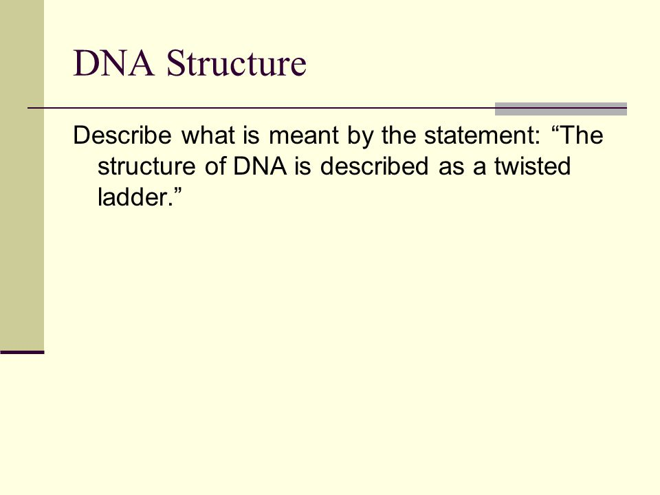 "DNA Structure Describe what is meant by the statement: ""The structure of DNA is described as a twisted ladder."""