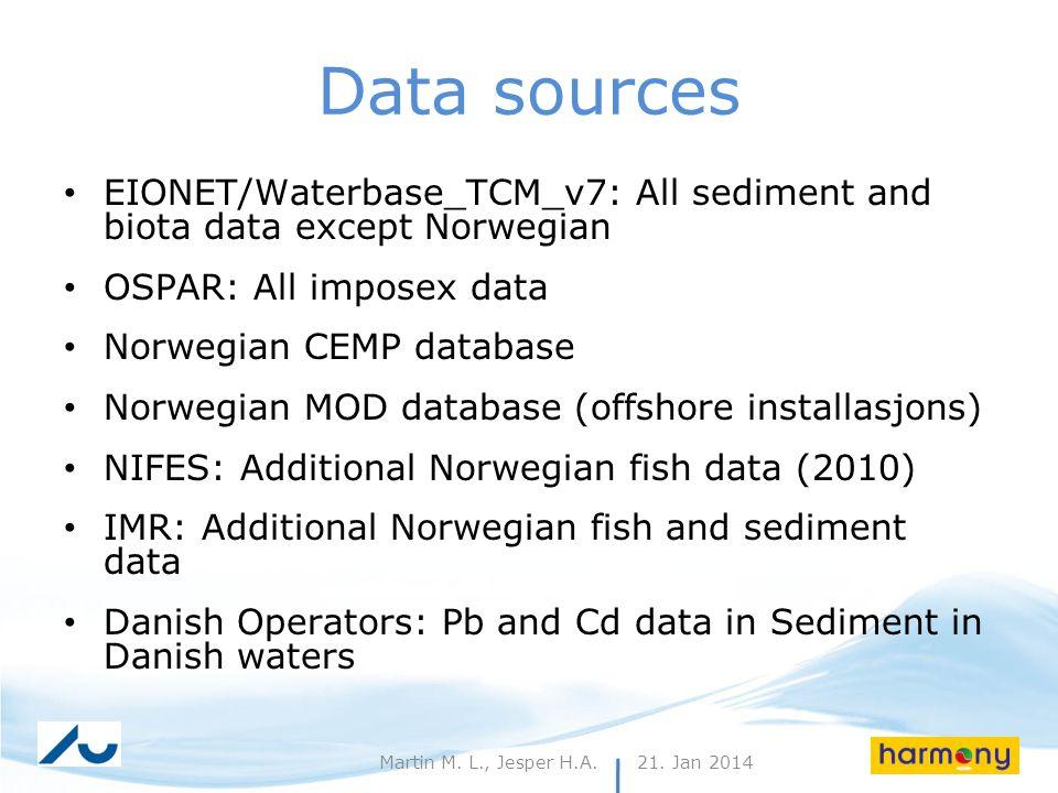 21. Jan 20146Martin M. L., Jesper H.A. Data sources EIONET/Waterbase_TCM_v7: All sediment and biota data except Norwegian OSPAR: All imposex data Norw